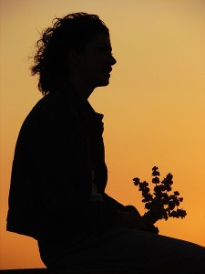 silhouette of a young woman