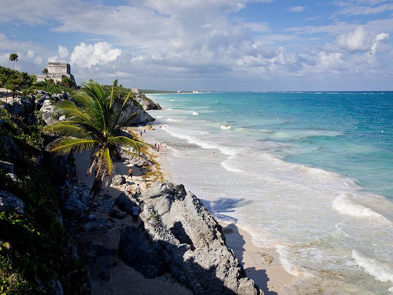 View of Tulum from the beach