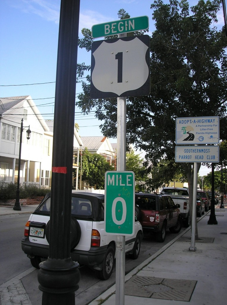 End of Route 1, Mile marker O