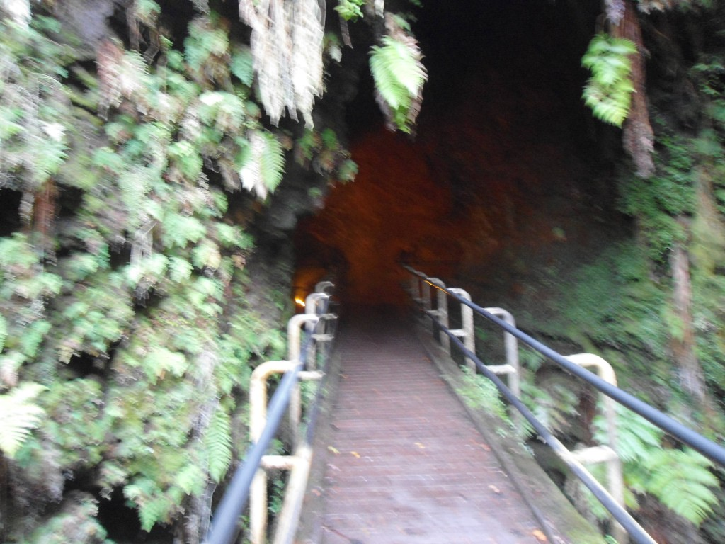 Going down into an underground lava tube