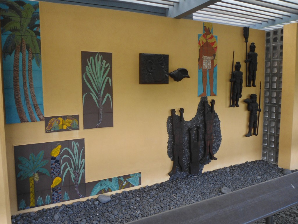 The mural -- the king of Hawaii was revered like a god.